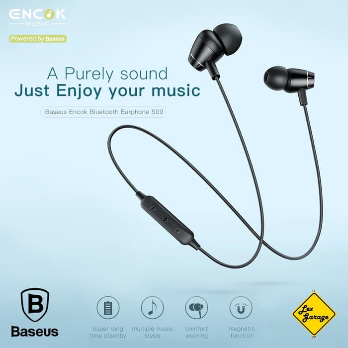 Wireless Headset Baseus S09 Bluetooth Earphone Magnetic Original