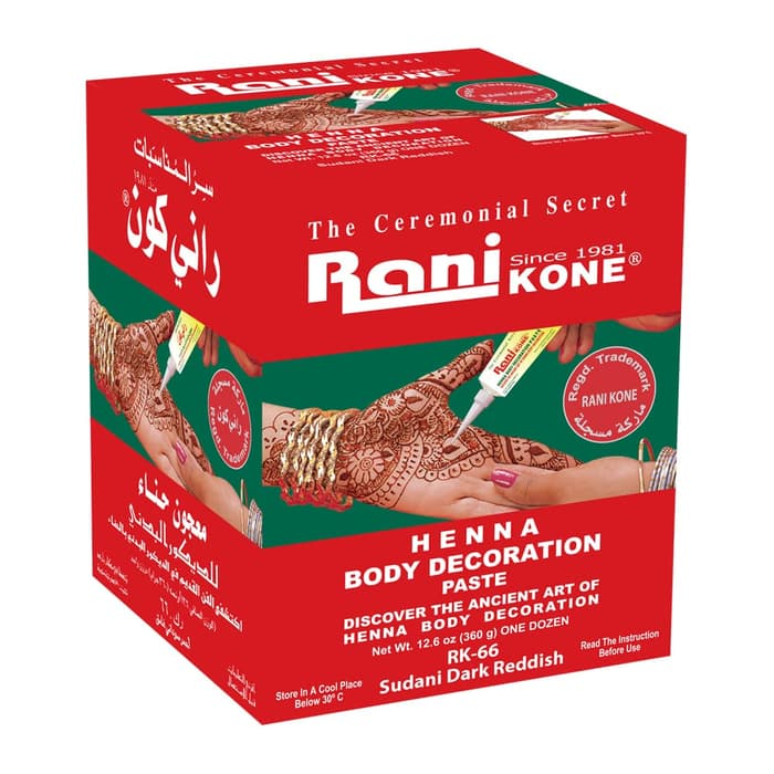Rani Kone Body Decoration Paste Henna RK 66 Reddish (Box)