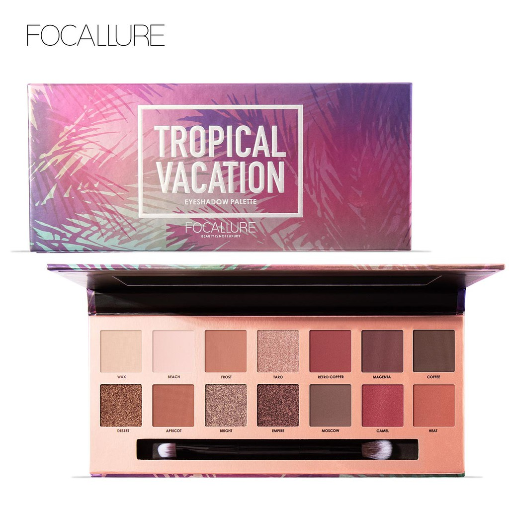 [FA49-T] FOCALLURE Tropical Vacation Eyeshadow Palette With Brush - 14 Colors