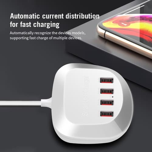4 Port USB Fast Charger Portable 1.5M Quick charge 20w WLX-T3
