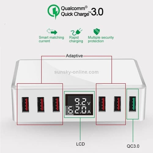 Charger Quick Charge 3.0 6 Ports Multi-port USB LCD 8A 40W WLX-T9+