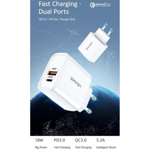 USAMS T15 Charger hp adaptor QC 3.0 + PD Fast Charging Qualcomm 18W