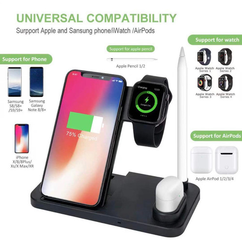 4 in 1 10W Fast Wireless Charger Dock Station Fast Charging Stand W30 - Hitam