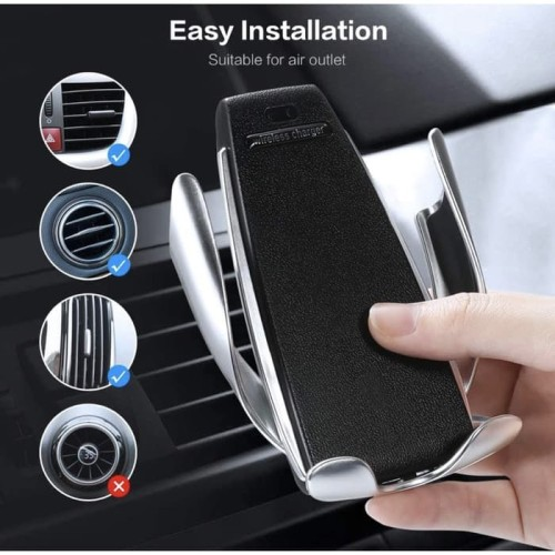S5 Wireless Car Charger Air Vent Automatic Clamping Mount Holder 10W