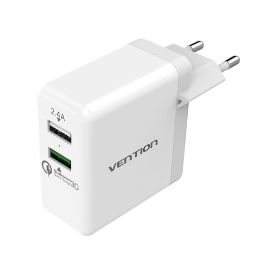 Vention QC02 Dual USB Port Qualcomm Quick Charge 3.0 Wall Charger