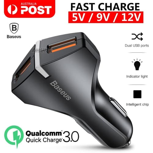 CAR CHARGER BASEUS 3A 18W SMALL ROCKET DUAL USB QUICK CHARGE 3.0