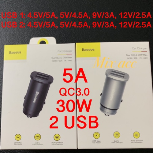 Car Charger Baseus 5A dual port 30W USB +USB / QC 4.0 QC 3.0 C15Q - Hitam
